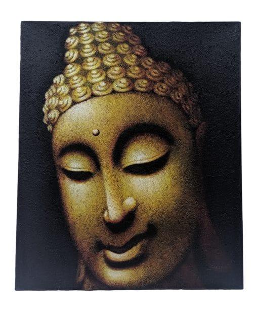 Canvas schilderij 60cm wanddecoratie boeddha hoofd goud