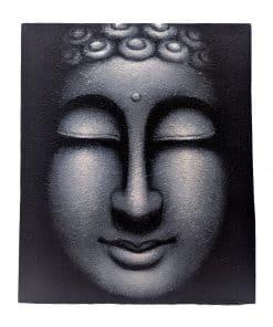 Canvas schilderij wanddecoratie boeddhahoofd 60 cm zilver