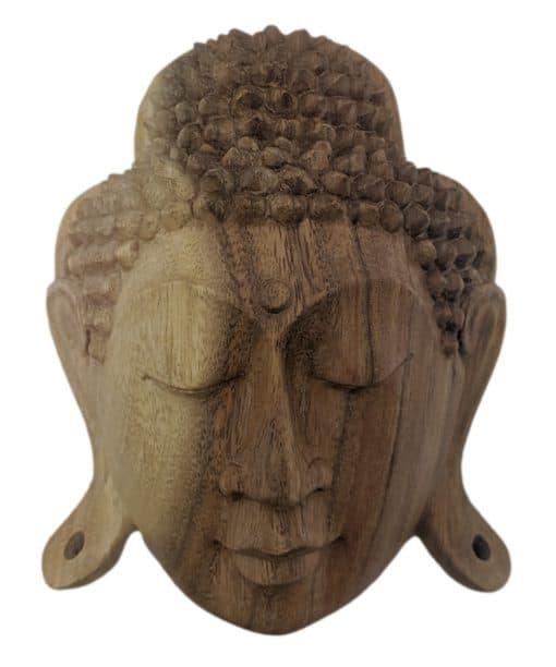 Boeddha hoofd uit licht hout gesneden 20 cm wanddecoratie