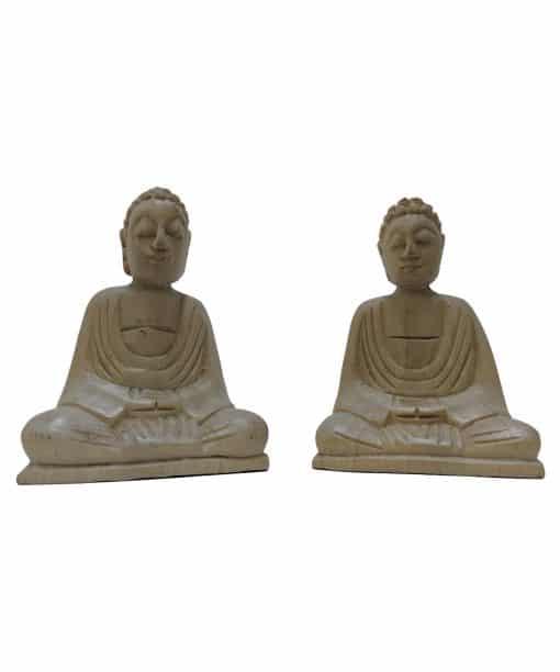 Houten Boeddhabeelden als set van 2 stuks – handgemaakte Bali 10 cm