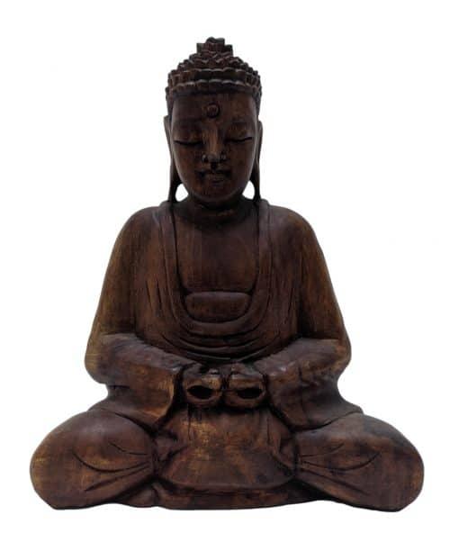 Houten Boeddhabeeld handgemaakt uit Bali 23 cm