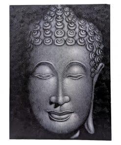 Groot canvas schilderij boeddha hoofd 80 cm grijs