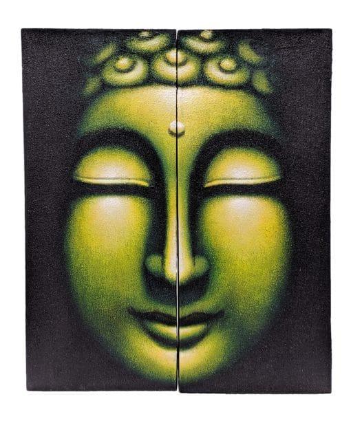 Schilderij boeddha hoofd wanddecoratie 60 cm groen