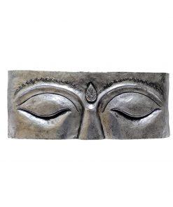 Houten wandpaneel zilver van Boeddha ogen 60 cm