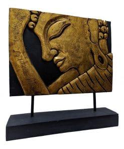 Boeddha beeld schilderij als gouden paneel 43 cm