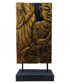 Houten boeddha decoratie paneel 62 cm raamscherm