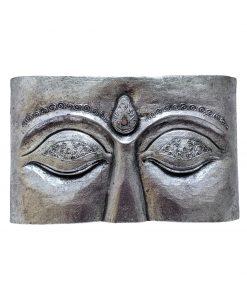 Boeddha ogen op houten paneel zilver 40 cm