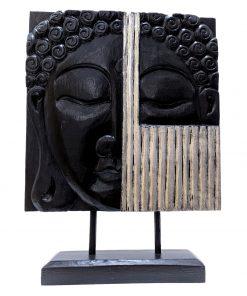 Houten paneel met boeddha zwart zilver 53 cm - Raamdecoratie