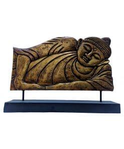 Boeddha liggend als houten paneel 50 cm